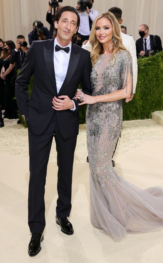Adrien Brody, Georgina Chapman, 2021 Met Gala, Arrivals, Red Carpet Fashions, Couples
