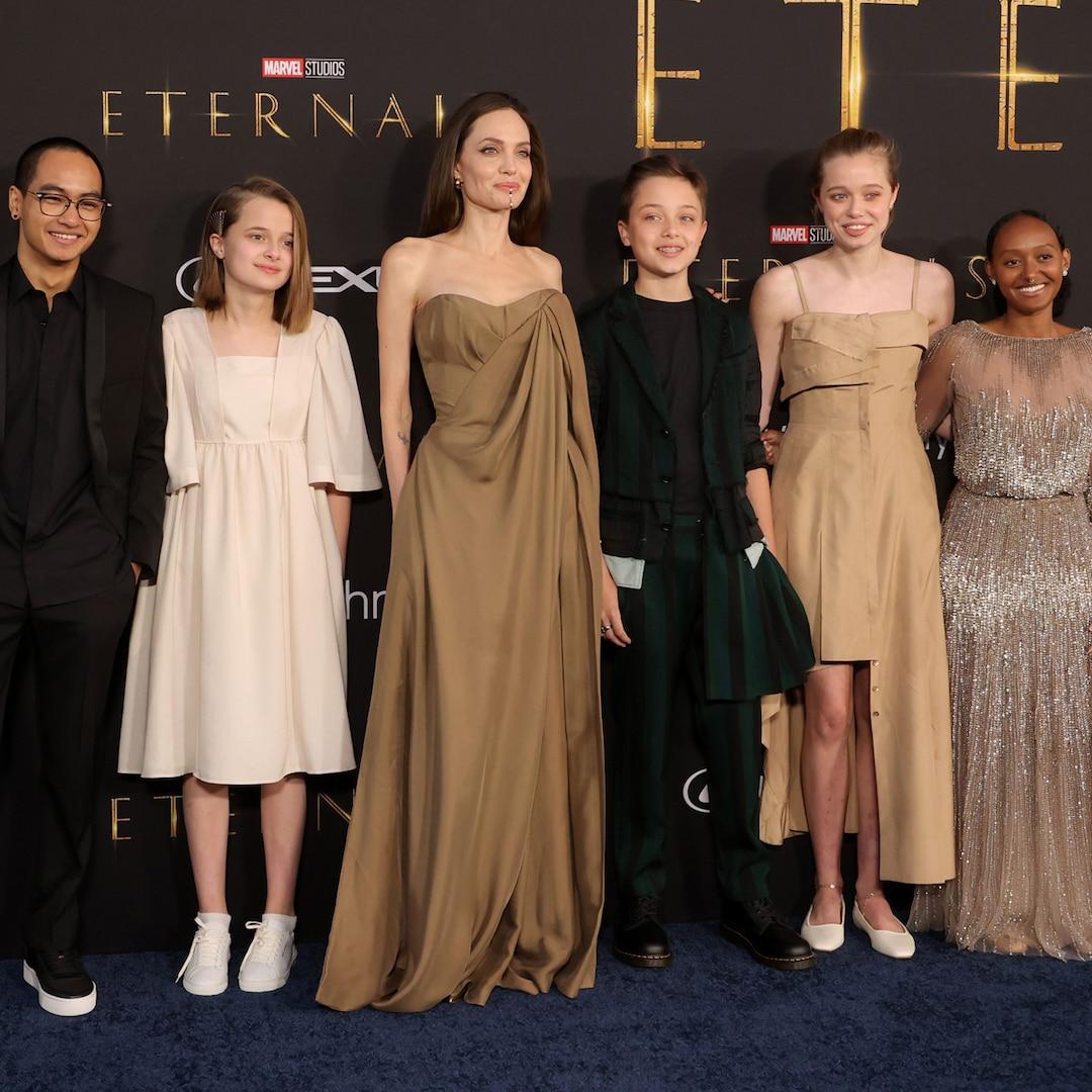 See Angelina Jolie's Daughter Recreate Her 2014 Oscars Look at Eternals Premiere With Siblings